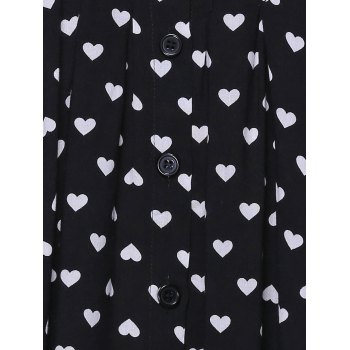 Charming U-Neck Button Design Heart Print Women's Tank Top - BLACK M