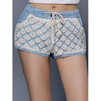 Trendy Drawstring Pocket Design Lace Spliced Women's Shorts