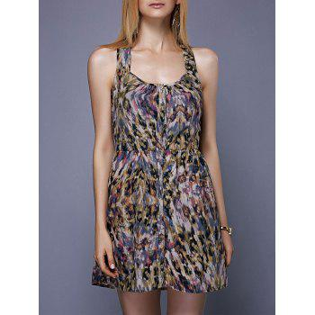 Fashionable Sleeveless Button Design Printed Women's Dress