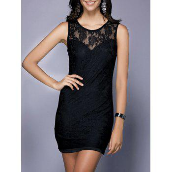 Chic Sleeveless Round Neck Black Skinny Hollow Out Women's Dress