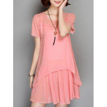 Sheer Pleated Chiffon  Frilled Dress