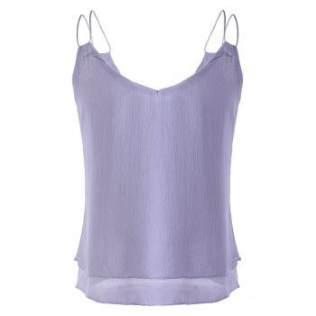 V-Neck Spaghetti Strap Top en mousseline de femmes à la mode - Gris ONE SIZE(FIT SIZE XS TO M)