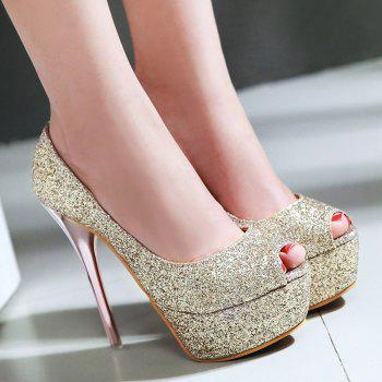 Stylish Sequined Cloth and Stiletto Heel Design Women's Peep Toe Shoes - GOLDEN GOLDEN