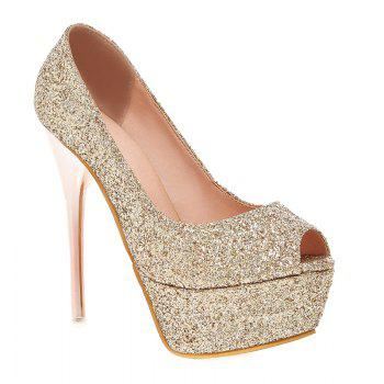 Stylish Sequined Cloth and Stiletto Heel Design Women's Peep Toe Shoes
