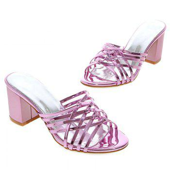 Trendy Solid Colour and Cross Straps Design Women's Slippers - LIGHT PURPLE 43