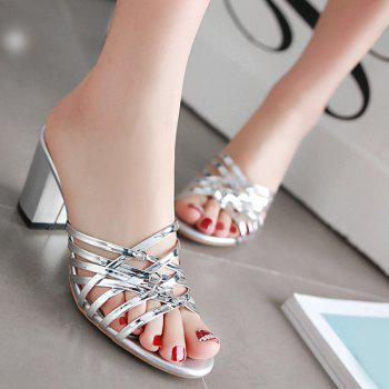 Trendy Solid Colour and Cross Straps Design Women's Slippers - 38 38