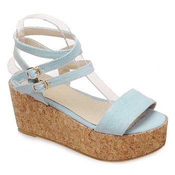 Trendy Double Buckle and Denim Design Women's Sandals