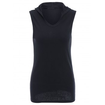 Trendy Hooded Solid Color Sleeveless Men's Tank Top - BLACK BLACK