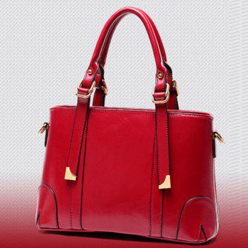Graceful Metal and PU Leather Design Women's Tote Bag - RED