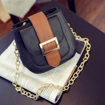 Trendy Buckle and Color Block Design Women's Crossbody Bag - BLACK