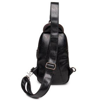 Leisure Zipper and Hit Colour Design Men's Messenger Bag -  BLACK