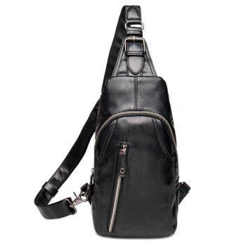 Simple Style Black Color and Zippers Design Men's Messenger Bag