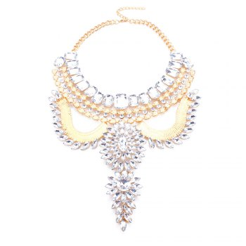 Geometric Rhinestone Artificial Gem Hollow Out Necklace