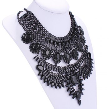 Hollow Out Rhinestone Alloy Necklace - BLACK