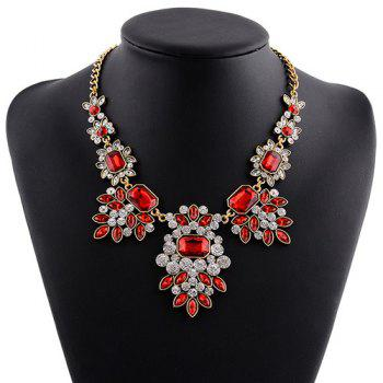 Rhinestone Faux Gem Geometric Leaf Necklace