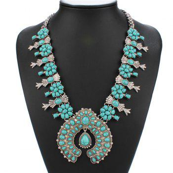 Retro Faux Turquoise Bowknot Geometric Pendant Necklace
