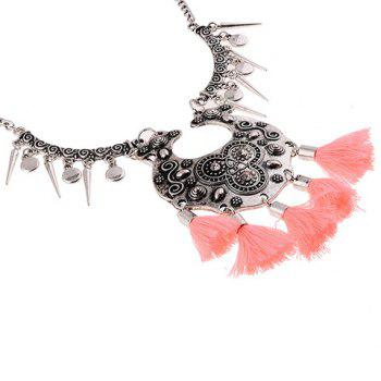 Rhinestone Embossed Cone Tassel Necklace - PINK