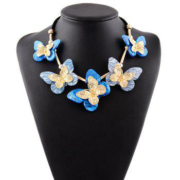 Resin Butterfly Rope Necklace - BLUE BLUE