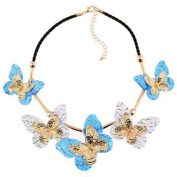 Resin Butterfly Rope Necklace -  BLUE