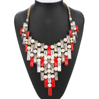 Artificial Pearl Faux Gem Openwork Statement Necklace - RED RED