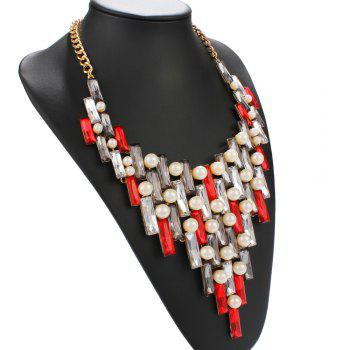 Artificial Pearl Faux Gem Openwork Statement Necklace - RED
