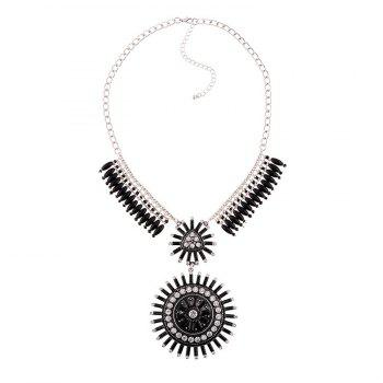 Faux Gem Rhinestone Tassel Round Necklace - BLACK