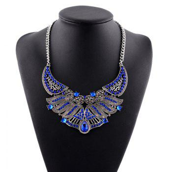 Faux Crystal Rhinestone Leaf Necklace