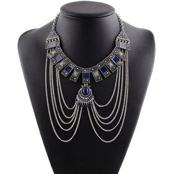 Faux Gem Rectangle Multilayer Chain Tassel Necklace