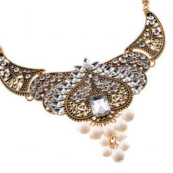 Faux Crystal Rhinestone Bead Necklace -  WHITE