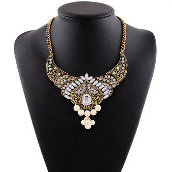 Faux Crystal Rhinestone Bead Necklace - WHITE WHITE