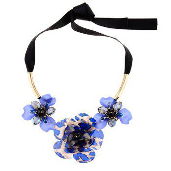 Exaggerated Floral Embellished Necklace - BLUE BLUE