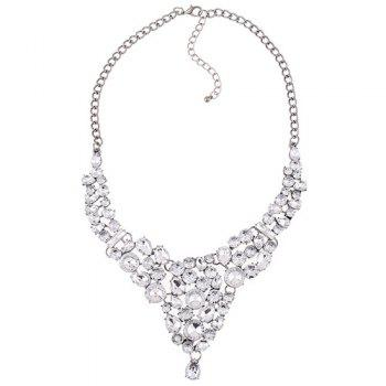 Rhinestone Embellished Water Drop Necklace