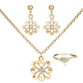 A Suit of Hollowed Flower Rhinestone Necklace Ring and Earrings - GOLDEN GOLDEN