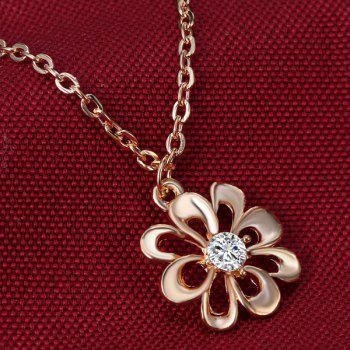 A Suit of Hollowed Flower Rhinestone Necklace Ring and Earrings -  GOLDEN