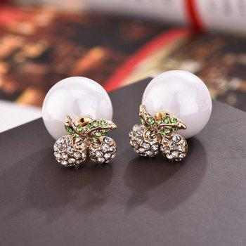 Pair of Cherry Rhinestoned Faux Pearl Stud Earrings