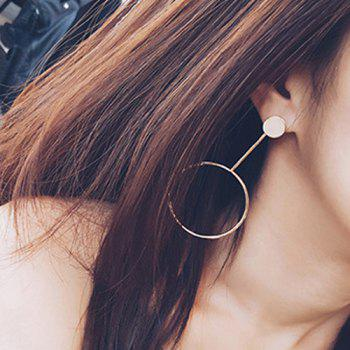 Pair of Alloy Metal Circle Earrings - GOLDEN GOLDEN