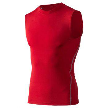 Fitted Training Quick-Dry Round Neck Sport Men's Tank Top - RED RED