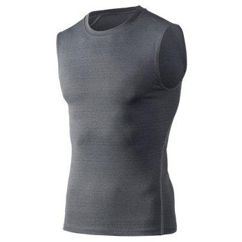 Fitted Training Quick-Dry Round Neck Sport Men's Tank Top - GRAY GRAY