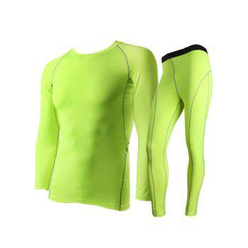 Fitted Quick-Dry Round Neck Short Sleeve Training Men's Sport Suit ( T-Shirt + Pants ) - NEON GREEN NEON GREEN