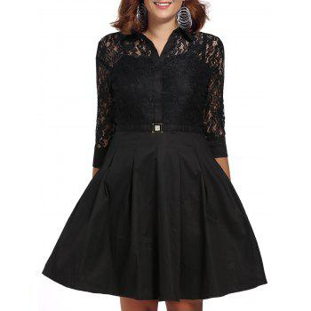Vintage Women's Shirt Collar 3/4 Sleeves Solid Color Spliced Lace Dress