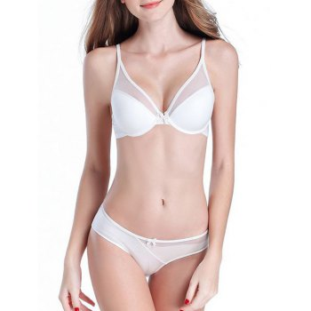 Trendy Spaghetti Strap Push Up Spliced Bra Set For Women