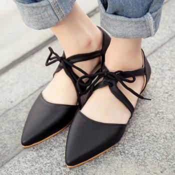 Stylish Solid Colour and Lacing Design Women's Flat Shoes - BLACK 36