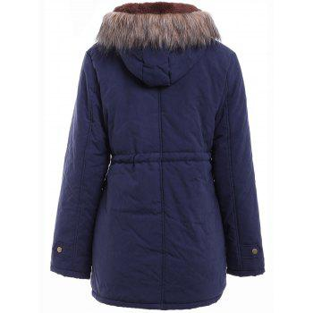 Preppy Style Faux Fur Hooded Drawstring Design Embroidered Fleece Coat For Women - BLACK GREY M