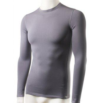 Fluff Tight-Fitting Round Neck Long Sleeve Qick-Dry Sports Running Men's T-Shirt