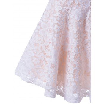 Trendy Sleeveless Lace Square Neck A-Line Dress For Women - WHITE XL