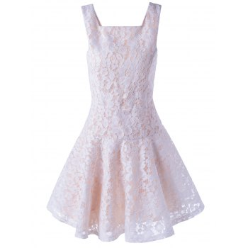 Trendy Sleeveless Lace Square Neck A-Line Dress For Women