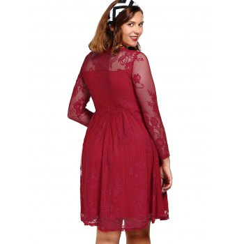 Noble Irregular Long Sleeve V-Neck See-Through Red Women's Ball Gown Dress - RED S
