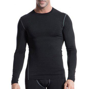 Fitted Training Quick-Dry Round Neck Long Sleeve Sport Men's T-Shirt