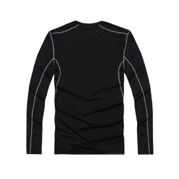 Fitted Training Quick-Dry Round Neck Long Sleeve Sport Men's T-Shirt - BLACK BLACK