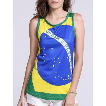Brazil Flag Printed Tank Top